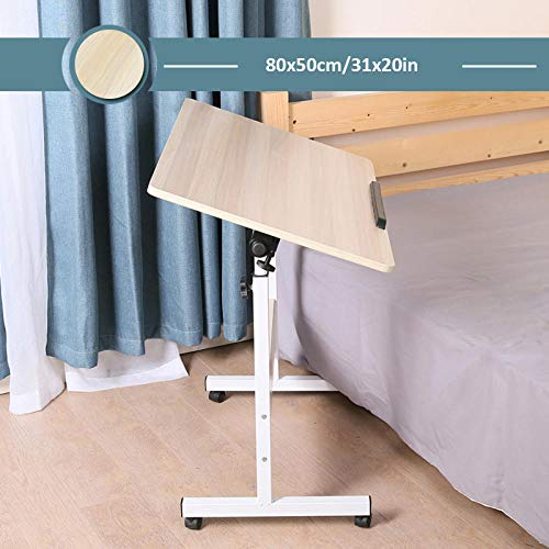 Carbon Steel Computer Tables For Home with Yellow MDF,Adjustable height, Lockable Casters, Foldable,Laptop Arm for Reading,Eating Breakfast,Laptop