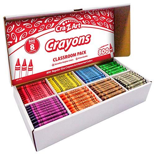 Cra-Z-Art Crayon Bulk Class Pack 800ct 8 Assorted Colors