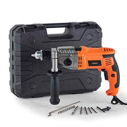 VonHaus Impact Hammer Drill 1200W with Two Speed Selector for Masonry, Brick, Metal, Wood & More -...