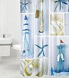 Duschvorhang Meeresbrise 180 x 180 cm, hochwertige Qualität, 100prozent Polyester, wasserdicht, Anti-Schimmel-Effekt, inkl. 12 Duschvorhangringe