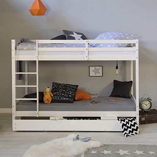 Homestyle4u 1432, Etagenbett für Kinder, Bettgestell Mit Leiter Bettkasten, Massivholz Kiefer, Weiß, 90x200 cm