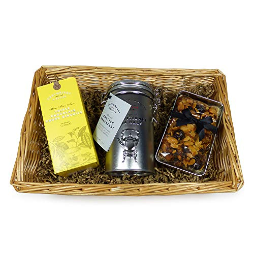 Luxury Afternoon Tea Gift Sweet Food Hamper Presented in a Wicker Tray - Gift Ideas for Mum, Her, Dad, Fathers Day, Valentines, Mother's Day, Birthday, Anniversary, Business and Corporate