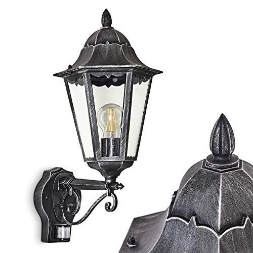 Buiten wandlamp Lignac m. Bewegingsmelder, wandlamp naar boven in antieke uitvoering, gegoten aluminium in zwart/zilver w. helder glas, wandlamp voor terras/tuin w. E27 stopcontact, 60 Watt, retro/vintage