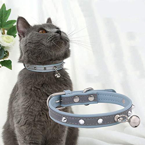 Factorys Basic Classic Gepolsterte Haustierhalsbänder aus Wildleder mit Klingel für kleine, mittelgroße Welpenhunde (Blau)