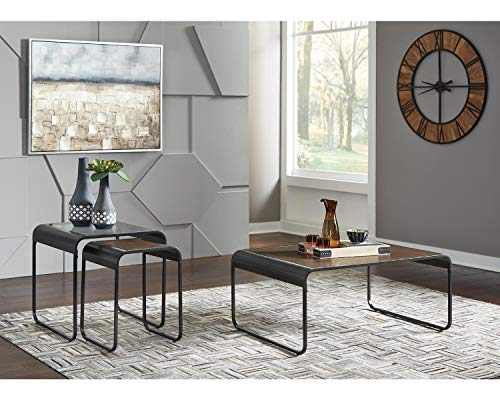 Signature Design by Ashley - Larzeny Occasional 3-Piece Table Set - Coffee Table and 2 Nesting End Tables, Brown/Black