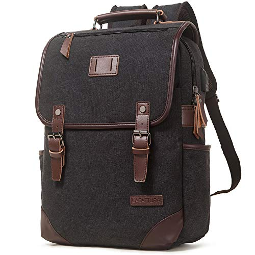 Lacattura Vintage Leather Rustic laptop Casual College Backpack for Men Women