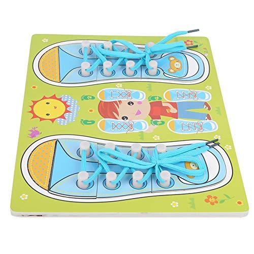 Atar cordones Material didáctico, Cordones de madera Juguete para enhebrar, Enhebrar Enseñar al bebé Aprender a atar zapatos Niños para bebés(QZM-blue-green laces)