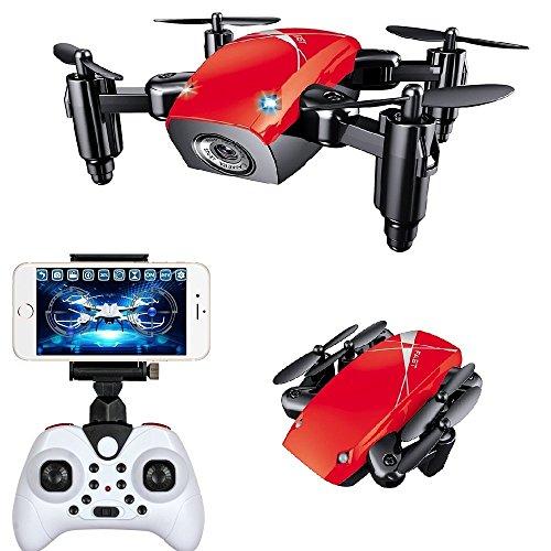IMPORTUDO MX Mini DRON DE Bolsillo Plegable Pocket Drone CUADRICÓPTERO con CÁMARA S9W (Rojo)