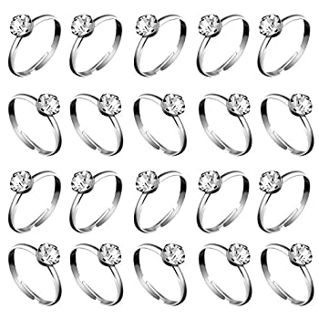 Whaline 36 Pcs Silver Diamond Engagement Rings for Wedding Table Decorations Party Supply Favor Accents Cupcake Toppers  36 Packs