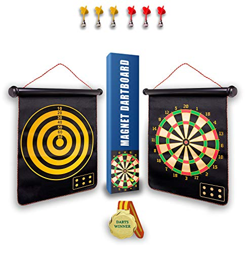 NUTVOK Magnetic Dart Board for Indoor Outdoor Games DoubleSided Rollup Dart Board 6pcs Magnetic Darts Best Shooting Games Family Games Toys Gifts Outdoor Toys for Kids Gifts for Teenage Girls