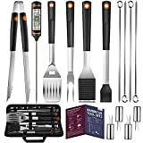 Veken 15 Pc. Grilling Accessories Tools Set with Meat Thermometer, BBQ Accessories Kit with 4-in-1 Spatula, Stainless-Steel Skewers, Grilling Tongs, Steel Wire Brush,Grill Gifts for Men