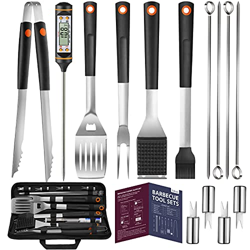 Veken 15 Pc. BBQ Grill Set with 3-in-1 Spatula with Beer Bottle Opener, Stainless-Steel Skewers, Instant Read Meat Thermometer, Grilling Tongs, Steel Wire Brush, and Corn Holder, Accessories