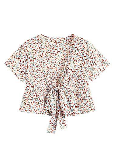 SweatyRocks Women's Short Sleeve Deep V Neck Self Tie Knot Crop Top Blouse Apricot L