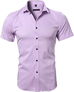 bee4d891 INFLATION Mens Dress Shirts Bamboo Fiber Slim Fit Short Sleeve Casual  Button Down Shirts, Elastic