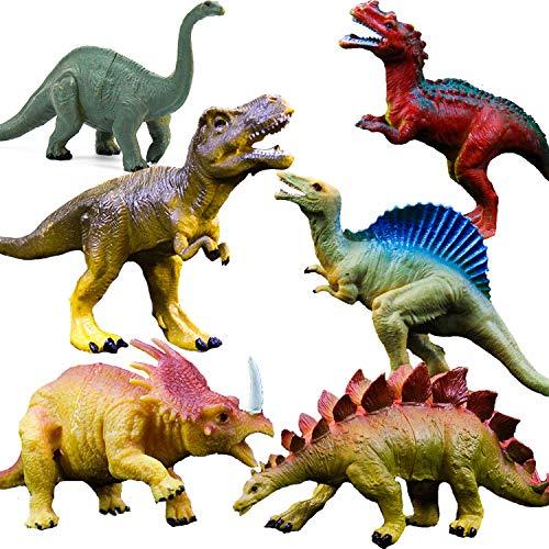 "OuMuaMua Realistic Dinosaur Figure Toys - 6 Pack 7"" Large Size Plastic Dinosaur Set for Kids and Toddler Education, Including T-rex, Stegosaurus, Monoclonius, etc"