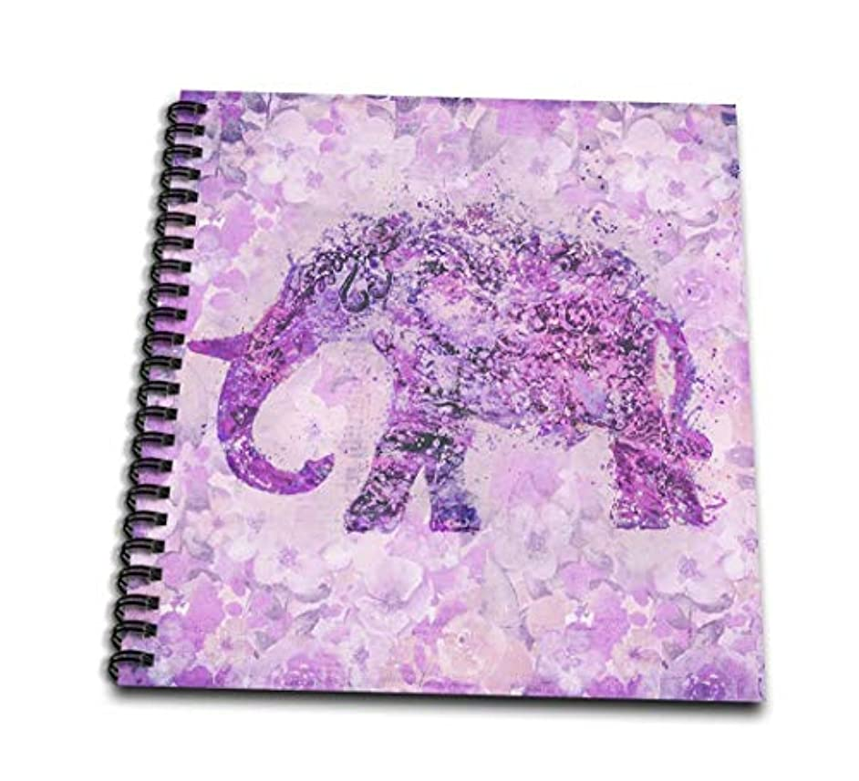 3dRose db_276224_3 Floral Elephant Illustration in Soft Purple Pastels Mini Notepad, 4 x 4, Clear