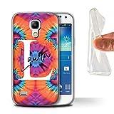eSwish Personnalisé Tissu Tie-Dye Motifs Personnalisé Coque Gel/TPU pour Samsung Galaxy S4 Mini/Papillon Coeur Symétrie Design/Initiales/Nom/Texte Etui/Housse/Case