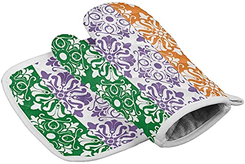 Independence Day Set of Oven Mitt and Pot Holder Irish Flag Heat Resistance Non-Slip Surface Oven Gloves for Holiday Floral Pattern Kitchen Cooking Baking Grilling- Glove size