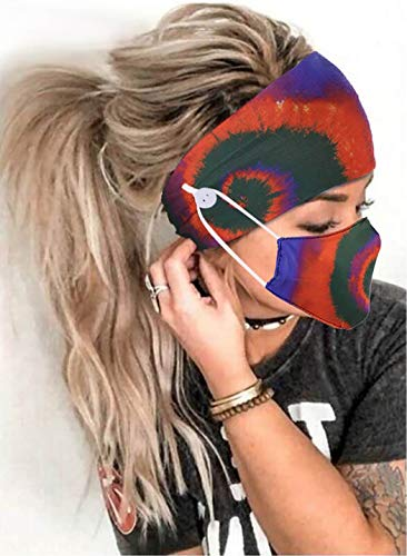 Zoestar Boho, con botones anchos, en espiral, teñido anudado, para la cabeza, bufandas elásticas...