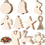150 Pieces Unfinished Wooden Christmas Ornaments Christmas Wood Ornament Angel Snowflake Star Shape Christmas Tree Hanging Embellishment with 150 Pieces Colorful Bell and 150 Pieces Cord
