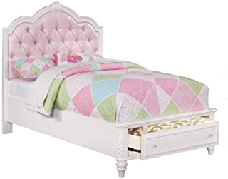 Coaster Home Furnishings Storage Bed, Twin, Pink/White