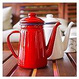 Pingping ZZPING 1.1l Esmalte de café Mano Té Té Esmalte de Té Caldera Inducción Cocina Gas Estufa Universal Mano Agua...