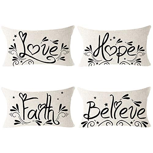 Andreannie Pack of 4 Faith Love Hope Believe Cotton Linen Lumbar Throw Pillow Case Personalized Cushion Cover Decorative for Sofa Couch Living Room Rectangle 12X 20 Inches (Pack of 4)