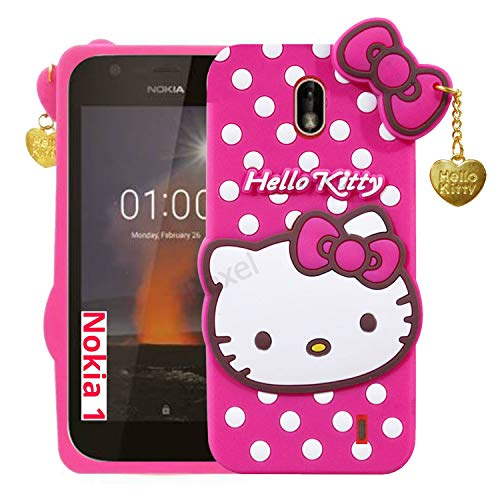 Roxel 3D Cute Hello Kitty Back Case Cover for Nokia 1 Soft Silicon [Girls Cover] Pink