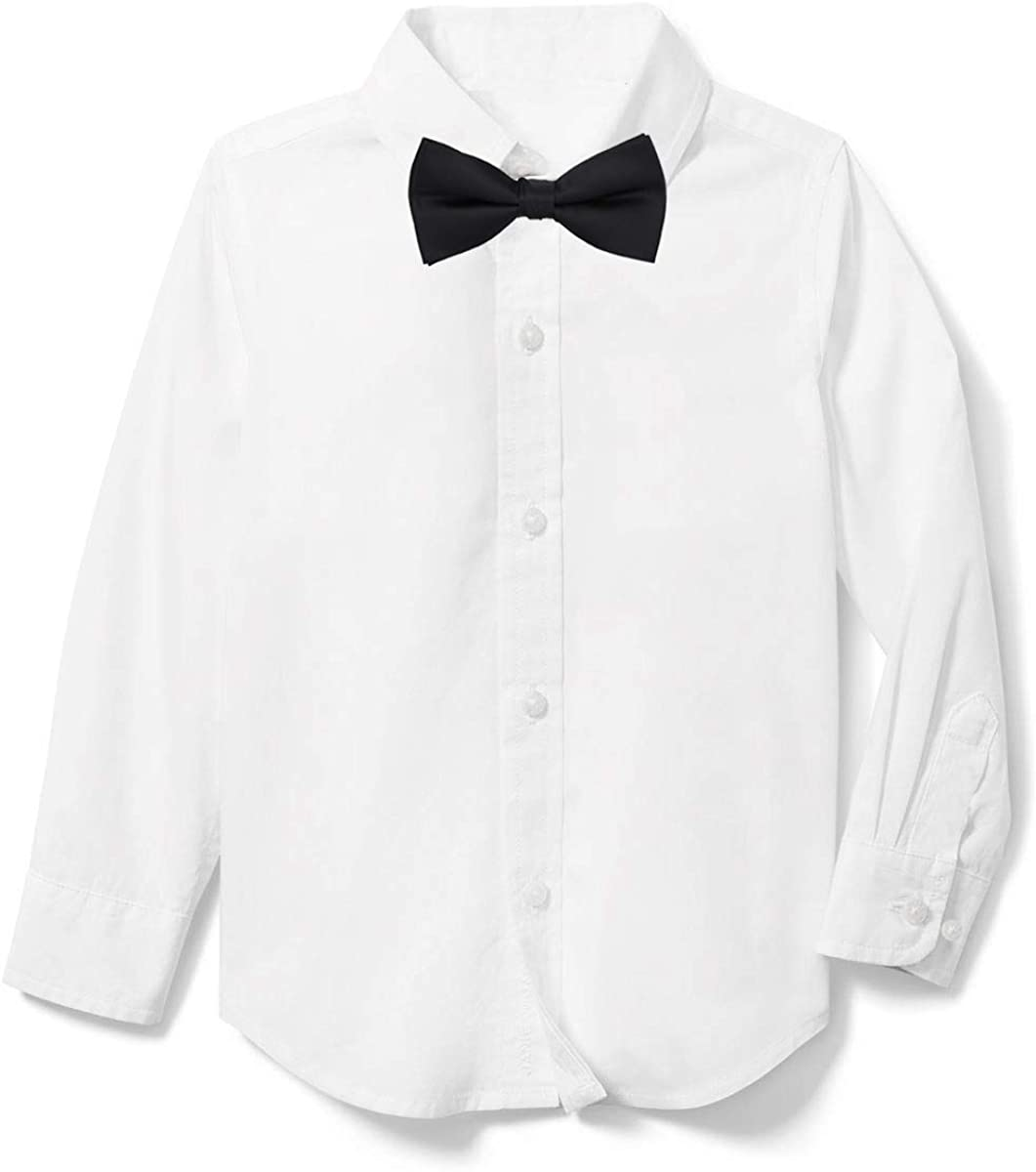 Rolanko Boys' Long Sleeve Dress Shirt, Boys White Tuxedo Button-Down Shirts with Bow Tie