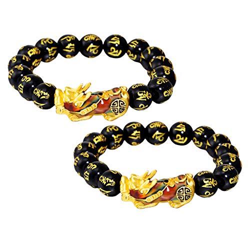 Sharplace 2xFeng Shui Amuleto Obsidiana Beads Gold Pixiu Pulsera Joyas Elástico Ajustable