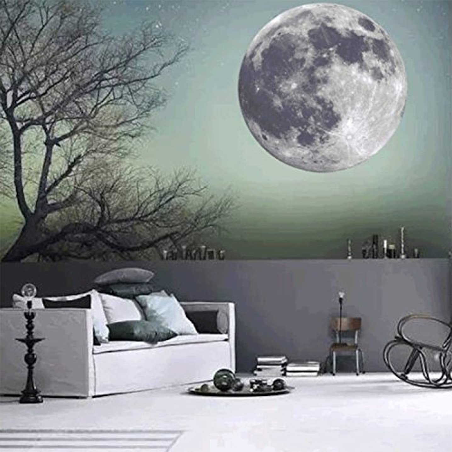 CaseFan Kid Baby Nursery 40cm Glow in Dark Full Moon Light Luminous Wall Stickers Vinyl Removable Art Mural Wallpaper DIY Decals(15.7x15.7 Inches),Gray