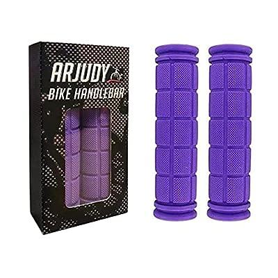 ARJudy Bike Grips - New 4.5 mm Thickness Non Slip Soft Rubber Mountain Bicycle Handlebar BMX Bike Handle Grips - (Purple)