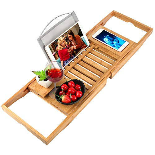 Trotinic Bathtub Tray Bamboo Bathtub Caddy Tray with Extending Sides Adjustable Book Holder with Premium Luxury Tray Organizer for Phone and Wineglass (Natural Bamboo Color)