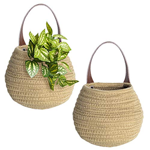 Jute Woven Hanging Storage Baskets, 2pack Wall Hanging Basket Organizer for Plants, Key, Sunglasses, Wallet on Door, Small Woven Baskets for Storage, Rope Woven Baskets for Baby Nursery Kids Gift