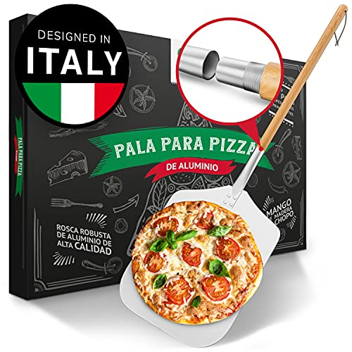 Pala de pizza Pizza Divertimento® - Pala para pizza de aluminio inoxidable [83 cm] - Rosca práctica y sólida - pala para pizza de bordes redondeados