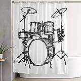VINISATH Duschvorhang,Skalierbares Musik-Schlagzeug-Kit Rock Jazz Roll Cymbal Drawing Design,wasserdichter Badvorhang mit 12 Haken Duschvorhangringen 180x180cm