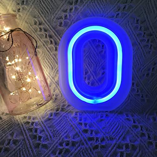 QiaoFei - Lettere Luminose con luci al Neon, Decorazione da Parete/Tavolo per casa, Bar, Natale, Festa di Compleanno, San Valentino, Parole Blu Blu O
