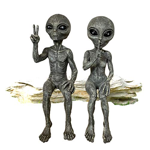 Outer Space Alien Grays Peace Dude & Quite Babe UFO Extraterrestrial 10' H Shelf Sitters Martians...