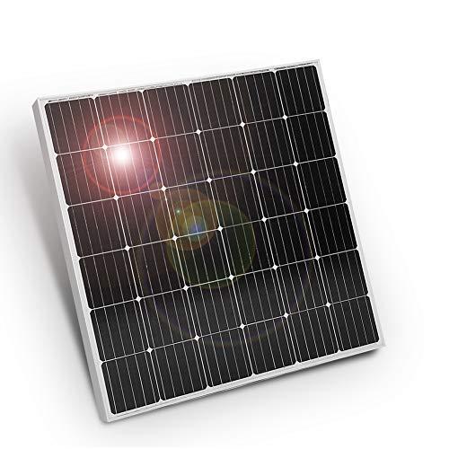 DOKIO 150W Solarpanel Gehärtetes Solarglas (ROBUST UND LANGLEBIG) Mono (EFFIZIENT) Einfache Installation mit vorgebohrtem Loch ideal zum Aufladen von 12V Batterien Wohnmobil, Camping, Gartenhaus