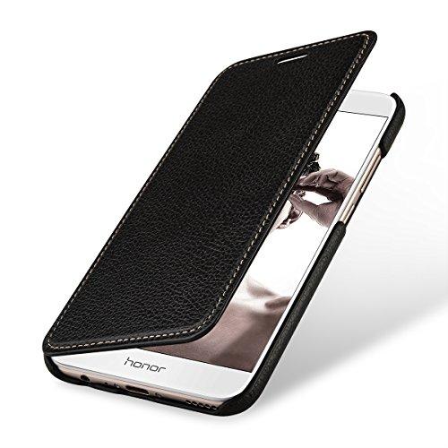 StilGut Leder-Hülle kompatibel mit Huawei Honor 8 Pro Book Type, schwarz