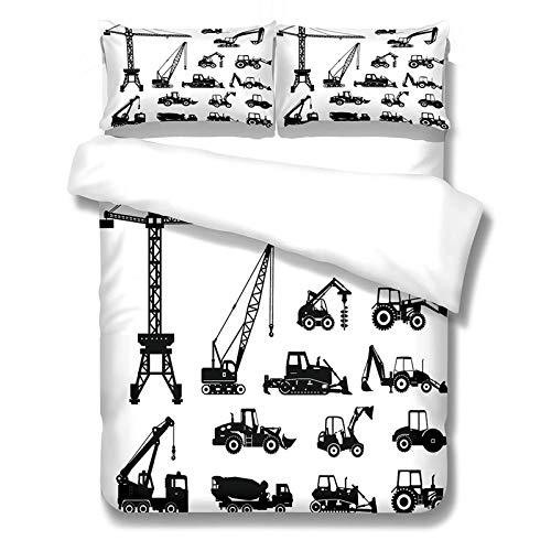 AOUAURO Funda de Edredón Camión Negro 3D Impresión Juego de Ropa de Cama 150x200 Poliéster con Cremallera Oculta 1 Funda Nórdica y 2 Funda de Almohada 3 Piezas Individual 260x220cm