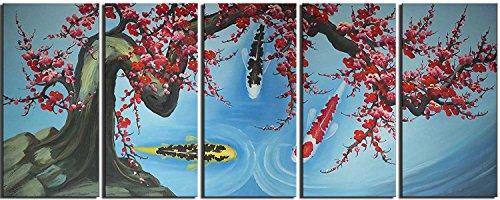 【開運絵画】 芸術家 手書き 【 ナイン?? 梅桜 】 赤 モダン 油絵 横30cm x 縦50cm x 5枚【 壁掛けフック付き 】 【 梱包はダンボールに包まれていています 】, 壁に飾る オイルペイントインテリア 子供部屋 自然画 絵 プレゼント 芸