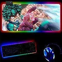 RGBマウスパッド 僒のヒーローアカデミアみどりやいずくゲーミングマウスパッドコンピューターマウスパッドラージマウスパッドゲーマーRGBビッグマウスカーペットPCデスクRGBマット 30x40cm