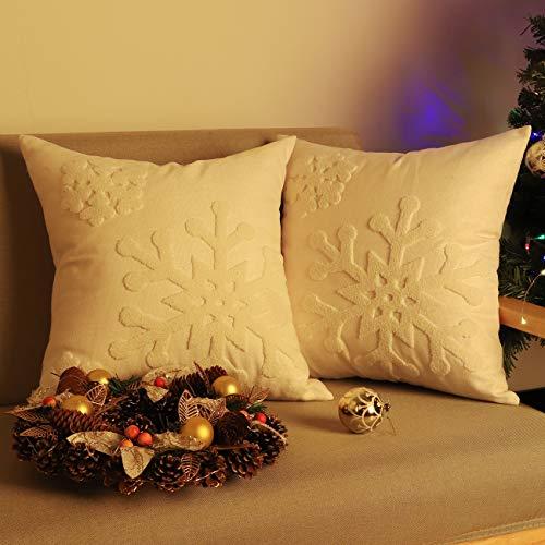Lewondr Baumwolle Leinen Kissenbezug, 2 Pack Quadratische Dekokissen Hülle mit Schneeflockenmuster, Weihnachten Dekorative Zierkissenbezüge für Sofa Auto Home Schlafzimmer, 45 x 45 cm - Weiß
