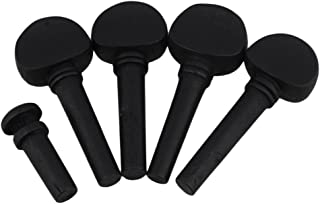 Yibuy Black Ebony Tuning Pegs & End Pin Set for 1/2 Size Violin Fiddle