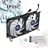 TITAN- 12V DC Double Rack Mount Ventilation Cooling Fan for Fridge Vent and Ventilation Grille with Speed Controller (120mm)
