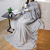 PAVILIA Premium Fleece Blanket with Sleeves for Adult, Women, Men | Warm, Cozy, Extra Soft, Microplush, Functional, Lightweight Wearable Throw (Light Gray, Regular Pocket)