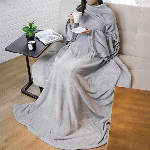 PAVILIA Premium Fleece Blanket with Sleeves for Adult, Women, Men | Warm, Cozy, Extra Soft, Microplush, Functional, Lightweight Wearable Throw (Light Gray, Regular Pocket)