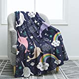 Jekeno Narwhals Blanket Throw Smooth Soft Blanket for Sofa Couch Bed Office 50'x60'