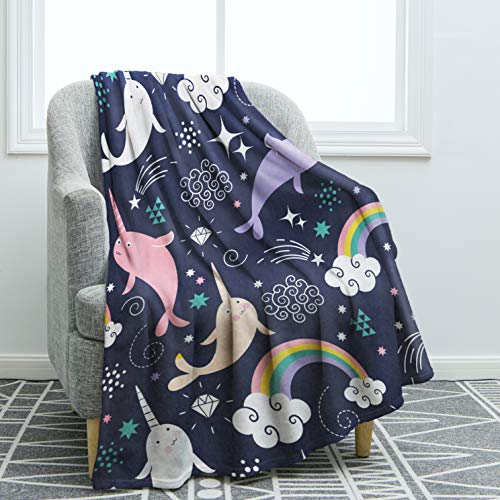 "Narwhal Blanket Throw for Sofa Couch Bed Office 50""x60"""